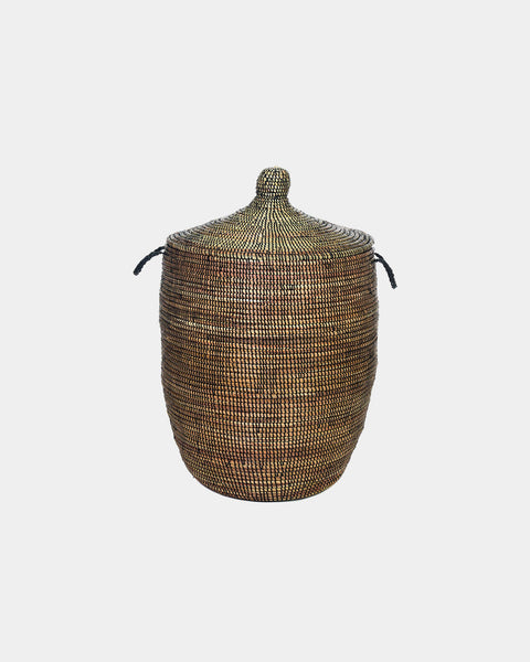Black Lidded Laundry Hamper
