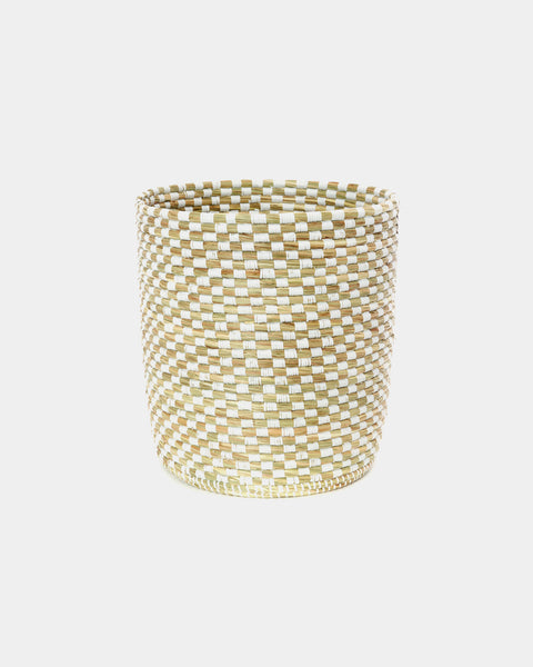 Cleo White Tall Checker Basket - Hesby
