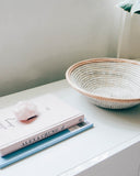 White Leather Tabletop Basket - Hesby