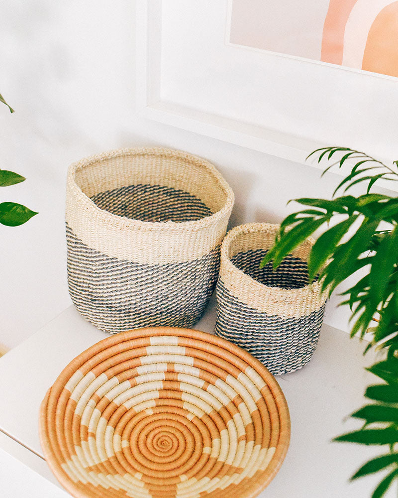 Black Dipped Sisal Basket Set - Hesby