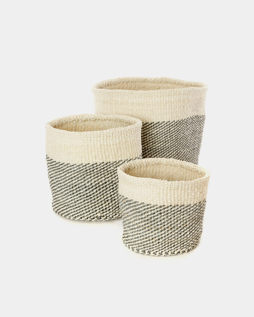 Grey Dipped Sisal Basket Set - Hesby
