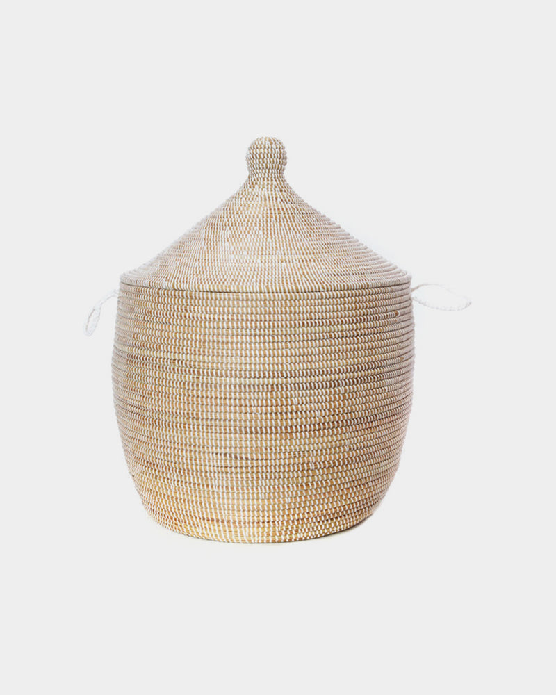 Stubby White Lidded Basket - Hesby