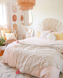 Beige + Pink Striped Throw Blanket