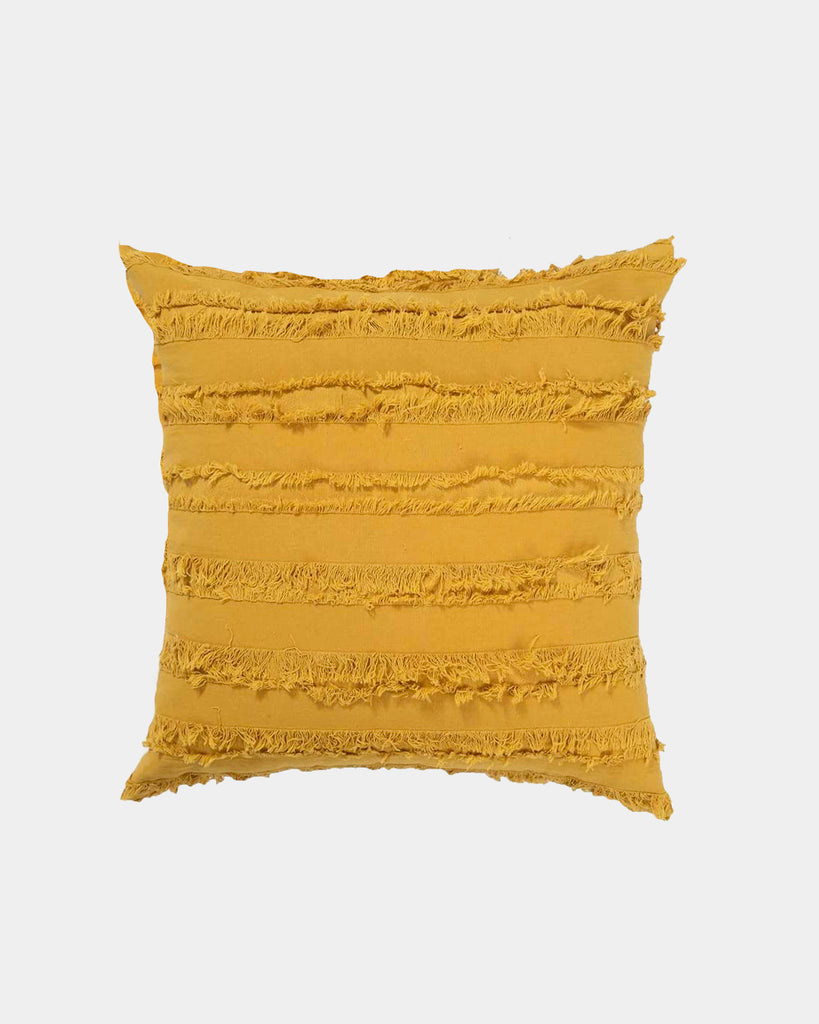 Mustard Fringe Throw Pillow