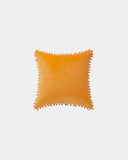 Mustard Pom Velvet Throw Pillow