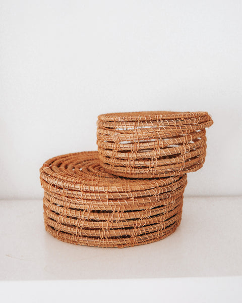 Wicker Lidded Palm Basket