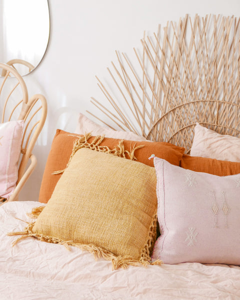 Fiona Mustard Fringe Throw Pillow