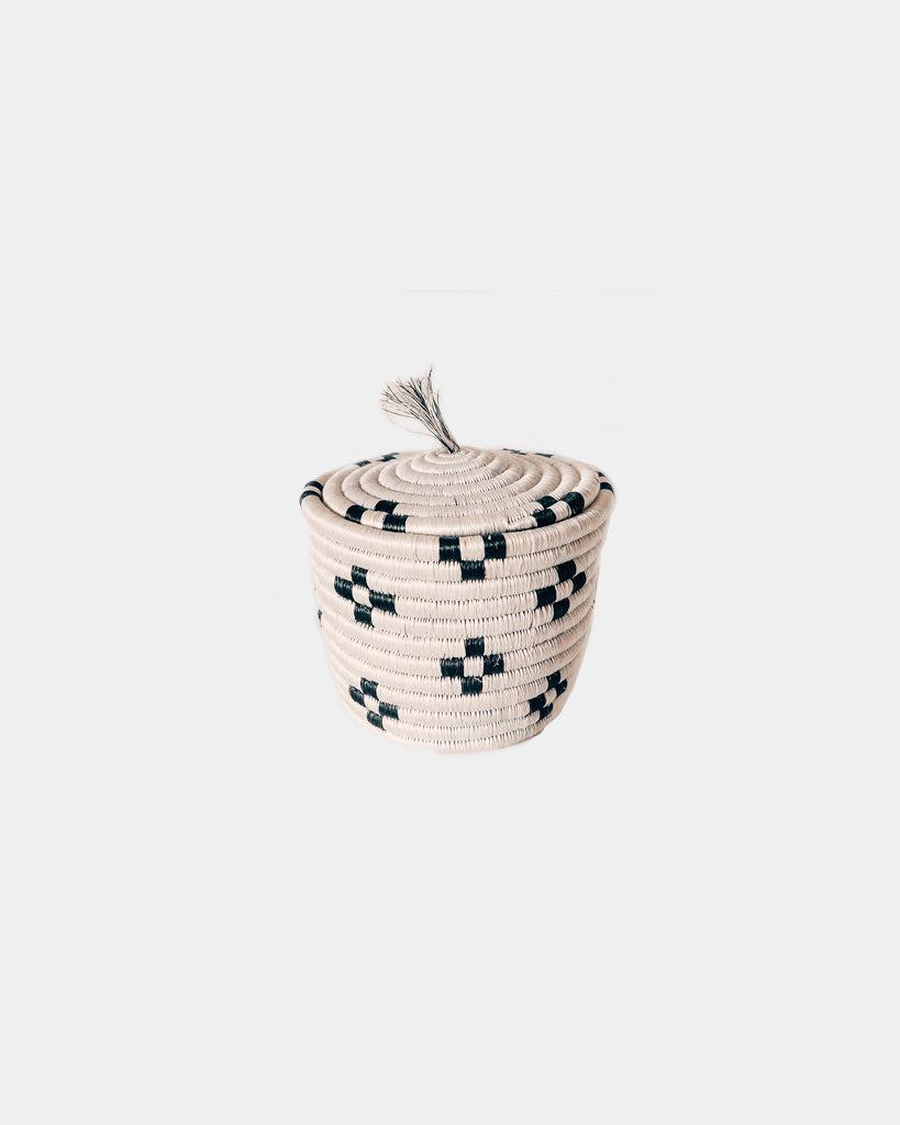 Pearl Black + White Lidded Basket