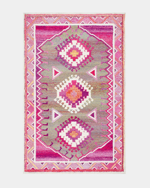 Pink Graphic Tribal Rug - Hesby