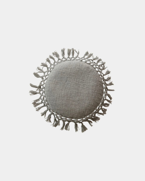 Fiona Grey Fringe Round Throw Pillow