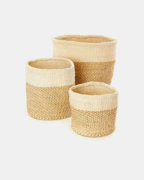 Beige Dipped Sisal Basket Set - Hesby