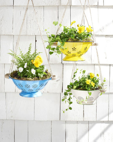 Easy DIY Flower Pot display Convert a Colander into a planter www.rockymountaindecals.ca