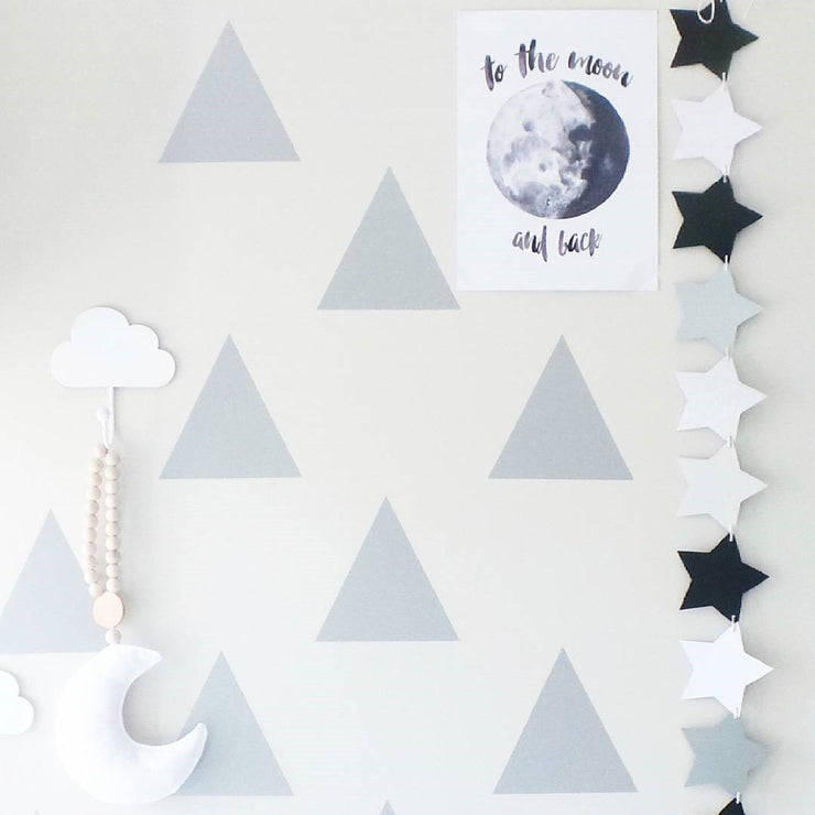 Little Peaks Wall Decal Geometric Triangles Wall Decals Triangle Wall Decal Triangle Wall Sticker Triangle wall decals – black/gray