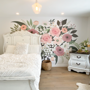 Pocketful of posies floral wall mural, flower wall covering, floral wallpaper, removable wallpaper