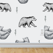 Bear Wallpaper for baby nursery and kids room