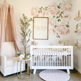 Blush Pink Nursery with wall decal flowers for baby girl