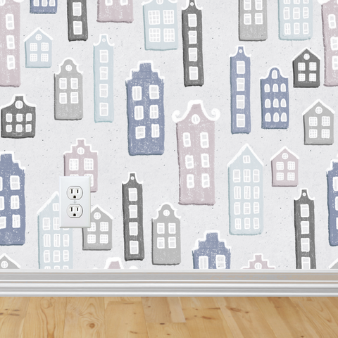 Little Houses 2 Wallpaper (Self-Adhesive)