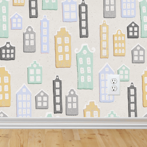 Little Houses 3 Wallpaper (Self-Adhesive)