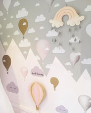 Hot Air Balloon Nursery-Hot Air Balloon Decals-Hot Air Balloon and Cloud Decal-Wall Stickers-Girl-Bedroom-Nursery Decor-Wall Sticker