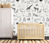 Animal Removable wallpaper, safari animal nursery decor