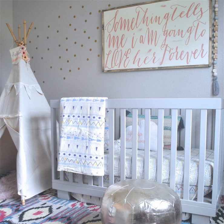 Gold Polka Dot Wall Decals DIY for your Nursery from rockymountaindecals.ca