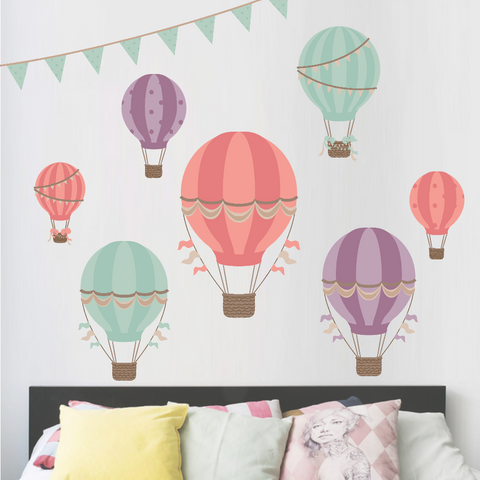 Hot Air Balloons Wall Decal REMOVABLE Wall DECAL JUMBO Size Hot Air Balloons Decals Nursery Wall Decal Kids Wall Decal RockyMountinDecals