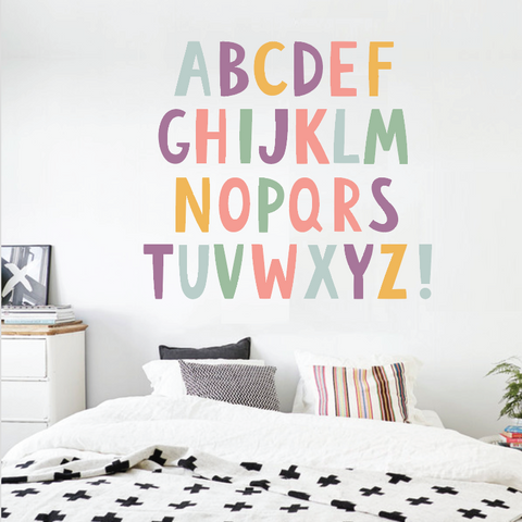 Alphabet Boys Nursery ABCs Wall Decals Learning Set Letters Set Children  Safe Vinyl Kids Wall Decal