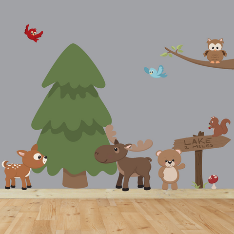 Nursery Decor, Woodland Nursery, Nursery Art, Animal Wall Decal, Tree Wall Decal, Kids Wall Sticker, Playroom Art Kids Decal, Woodland Decal