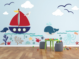 Kids Wall Decals - Underwater world, Whale ,octopus, ocean, boat, sea life Wall decal Wall Sticker- Large - Boys Wall Decal Kids Wall Decal Rocky Mountain Decals