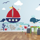 Kids Wall Decals - Underwater world, Whale ,octopus, ocean, boat, sea life Wall decal Wall Sticker- Large - Boys Wall Decal Kids Wall Decal