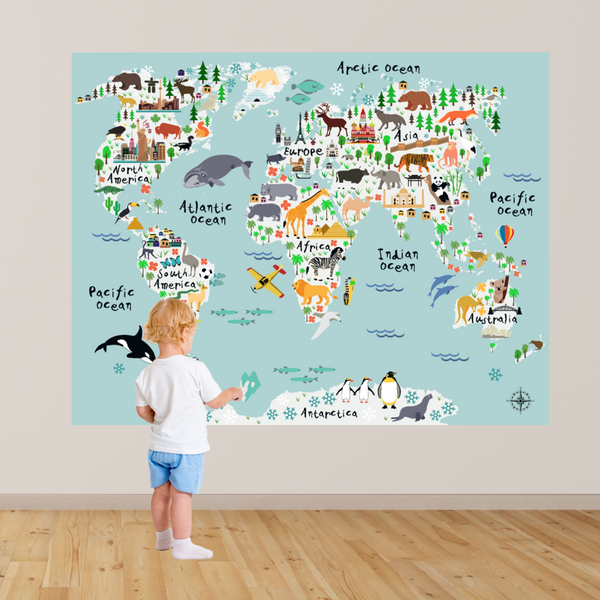 Map Of The World Decal.Animals World Map Wall Decal Rocky Mountain Decals