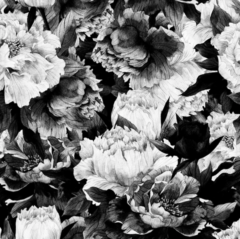 Monochrome Floral Wallpaper (Self-Adhesive)