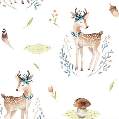 Sweet Fawn Removable Wallpaper, Woodland Nursery, Woodland Wallpaper, Hand Painted Wallpaper, Woodland Wall Decor, Temporary Wallpaper, Peel and Stick
