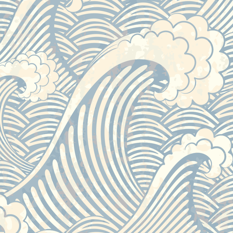 The Great Wave Wallpaper, Chinese Wave Wallpaper, Classic Wallpaper, Retro Wallpaper, Vintage Wallpaper, Removable Wallpaper, Beach Decor