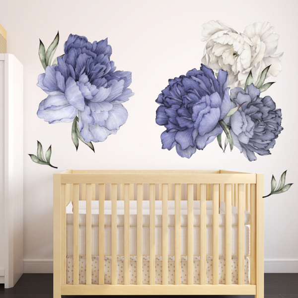 Blue Peony Wall Stickers