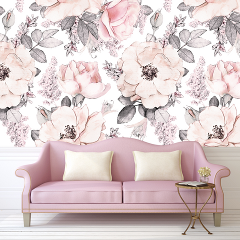 Snowey Rose Wallpaper, Vintage, Floral, Nursery, Wallpaper, Watercolor, Baby, Kids, Decal, Sweet, Room, Wall, Mural, Self-adhesive, Babyroom