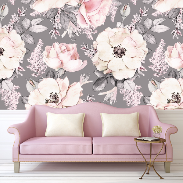 Dusty Rose Wallpaper, Vintage, Floral, Nursery, Wallpaper, Watercolor, Baby, Kids, Decal, Sweet, Room, Wall, Mural, Self-adhesive, Babyroom