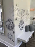 Black and White Peony Flower Wall Stickers