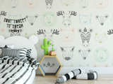 Animal Removable Wallpaper with moody zebra lion bear