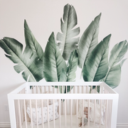 Tropical leaf wall decals for baby boy nursery