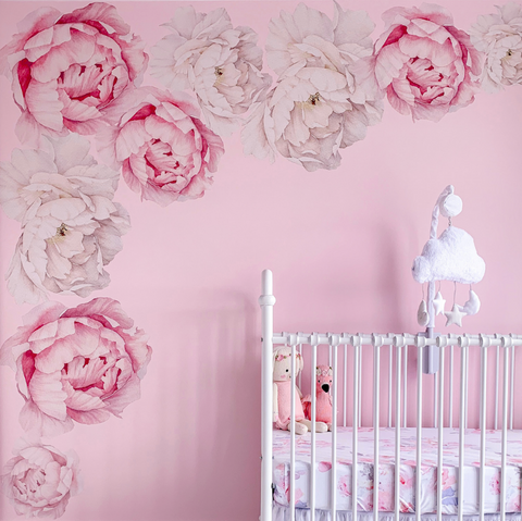 Hot Pink Peony Flower Wall Stickers