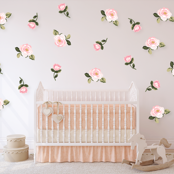 rose wall decals for baby nursery