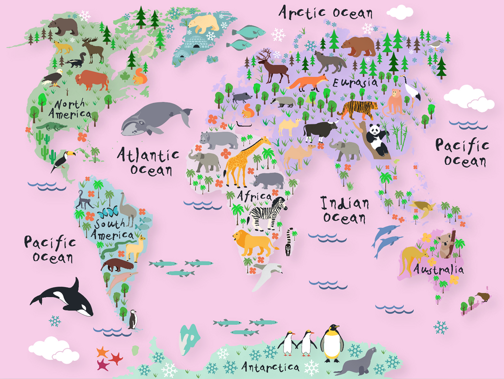 Animals World Map Wall Decal Rocky Mountain Decals