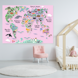 Pink World Map Decal