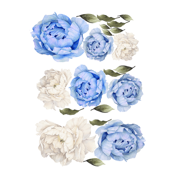 Blue and White Peony Flower Wall Stickers