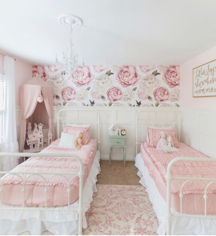 blush girls room with removable wallpaper flowers
