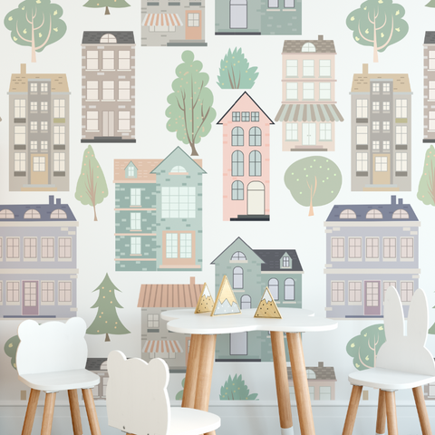 European Houses Wallpaper (Self-Adhesive)