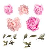 Half Order of Hot Pink Peony Flower Wall Stickers