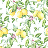 Lemon Print Wallpaper - Removable Wallpapers - Floral Watercolor Wallpaper - Self Adhesive Wall Decal - Temporary Peel and Stick Wall Art