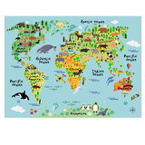 World Map Poster Decal